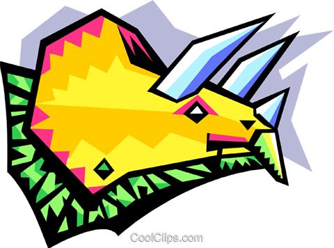stylized dinosaur - triceratops Royalty Free Vector Clip Art illustration anim2062