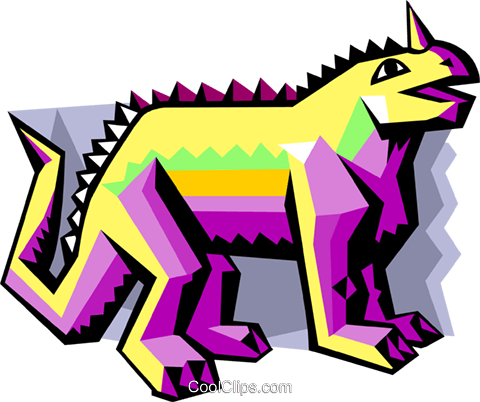 stylized dinosaur Royalty Free Vector Clip Art illustration anim2064