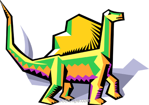 stylized dinosaur Royalty Free Vector Clip Art illustration anim2066