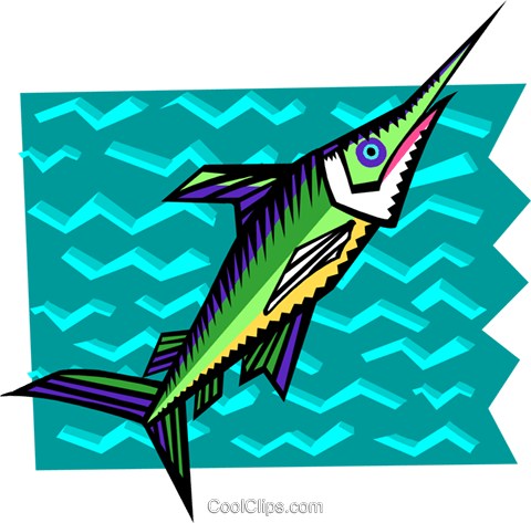 stylized swordfish Royalty Free Vector Clip Art illustration anim2067
