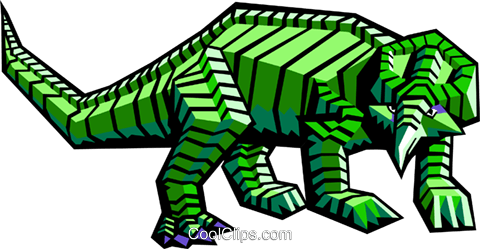 stylized dinosaur Royalty Free Vector Clip Art illustration anim2068