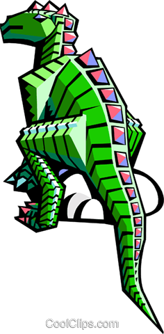 stylized dinosaur Royalty Free Vector Clip Art illustration anim2069