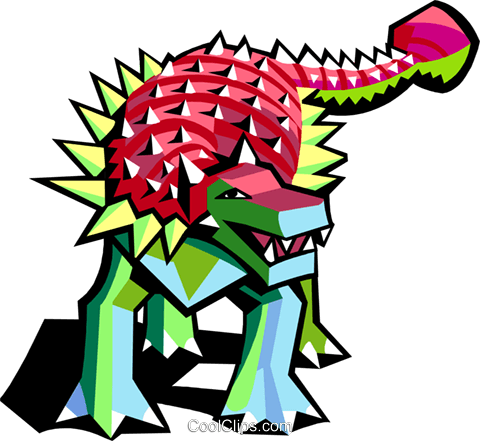 stylized dinosaur Royalty Free Vector Clip Art illustration anim2071