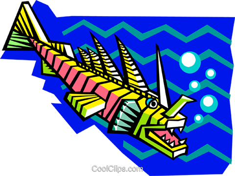 stylized prehistoric fish Royalty Free Vector Clip Art illustration anim2082