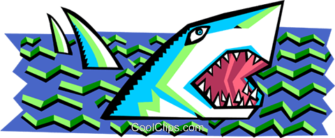 stylized shark Royalty Free Vector Clip Art illustration anim2083