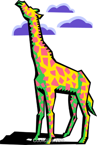 stylized giraffe Royalty Free Vector Clip Art illustration anim2085