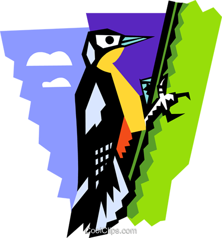 stylized woodpecker Royalty Free Vector Clip Art illustration anim2088