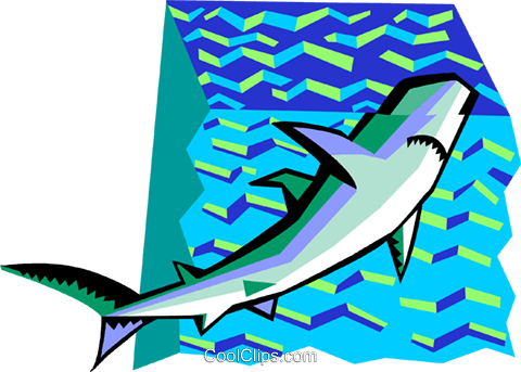 stylized shark Royalty Free Vector Clip Art illustration anim2090