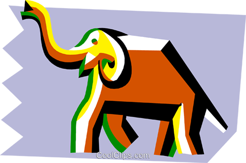 stylized elephant Royalty Free Vector Clip Art illustration anim2095