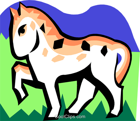 stylized horse Royalty Free Vector Clip Art illustration anim2098