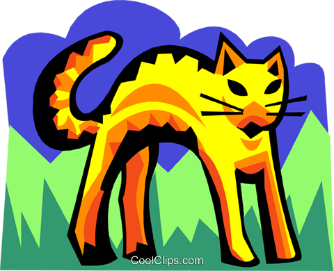 stylized cat Royalty Free Vector Clip Art illustration anim2100