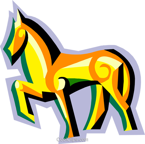 stylized horse Royalty Free Vector Clip Art illustration anim2107