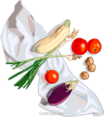 eggplant, tomatoes and squash Royalty Free Vector Clip Art illustration food1160