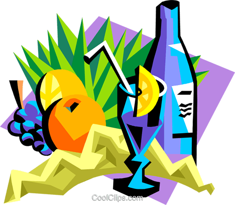 tropical drinks Royalty Free Vector Clip Art illustration food1167