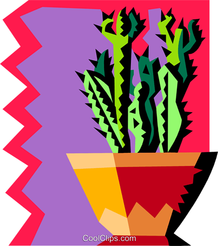 cactus with funky background Royalty Free Vector Clip Art illustration natu0939