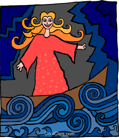 woman of the sea Royalty Free Vector Clip Art illustration peop3531