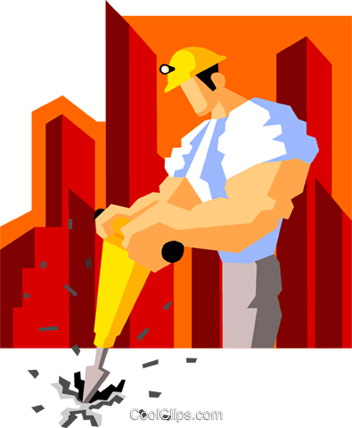 construction worker drilling Royalty Free Vector Clip Art illustration peop3546