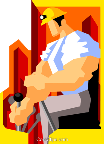 construction worker operating forklift Royalty Free Vector Clip Art illustration peop3547