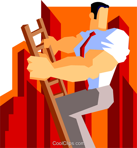 man climbing the corporate ladder Royalty Free Vector Clip Art illustration peop3549
