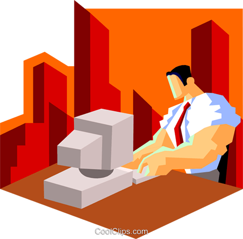 businessman inputting data into PC Royalty Free Vector Clip Art illustration peop3550