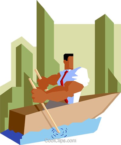 businessman rowing to destination Royalty Free Vector Clip Art illustration peop3553