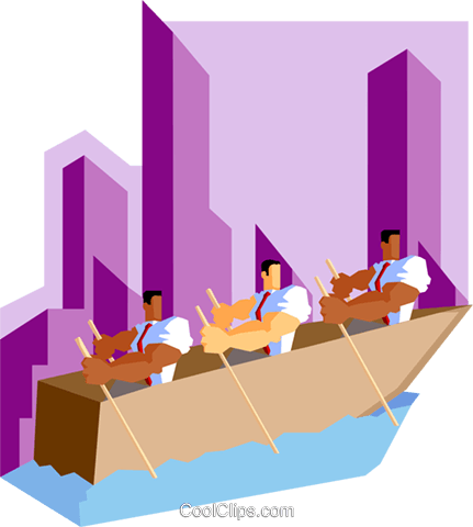 businessmen rowing to destination Royalty Free Vector Clip Art illustration peop3554