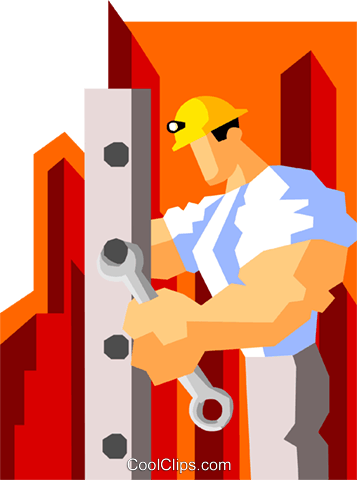 construction worker assembling machinery Royalty Free Vector Clip Art illustration peop3555