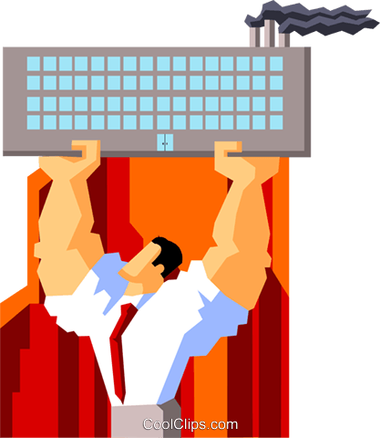 businessman holding up factory Royalty Free Vector Clip Art illustration peop3558