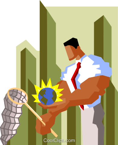 businessman chasing global opportunities Royalty Free Vector Clip Art illustration peop3560