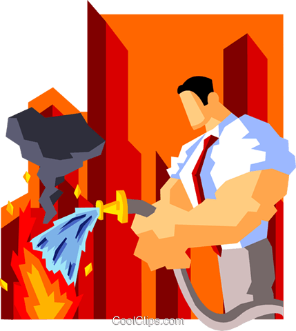 businessman putting out fires Royalty Free Vector Clip Art illustration peop3561