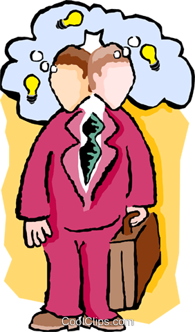 businessman thinking of ideas Royalty Free Vector Clip Art illustration peop3563