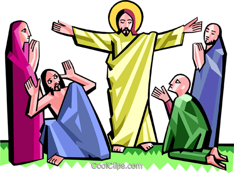 Jesus surrounded by awe-struck people Royalty Free Vector Clip Art illustration spec0356