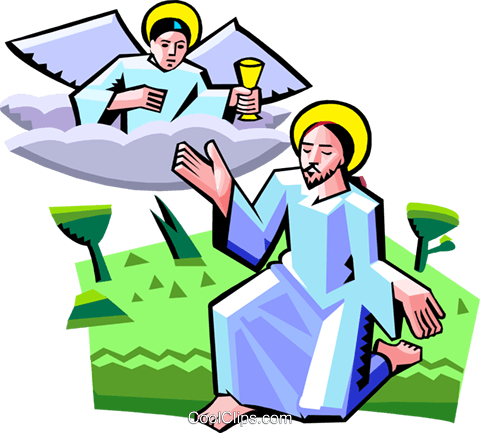 Jesus speaking with angel Royalty Free Vector Clip Art illustration spec0358