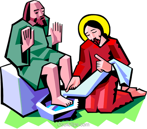 Jesus washing the feet of a disciple Royalty Free Vector Clip Art illustration spec0359