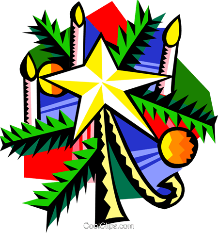 Christmas star with candles Royalty Free Vector Clip Art illustration spec0363