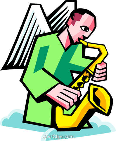 angel playing a saxophone Royalty Free Vector Clip Art illustration spec0368