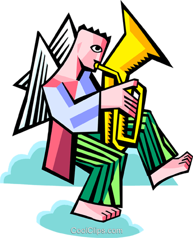 angel playing a tuba Royalty Free Vector Clip Art illustration spec0369