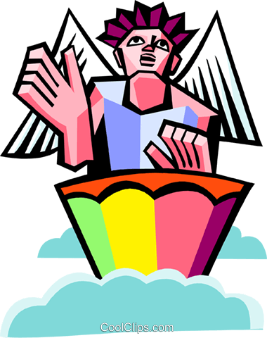 angel playing a drum Royalty Free Vector Clip Art illustration spec0371