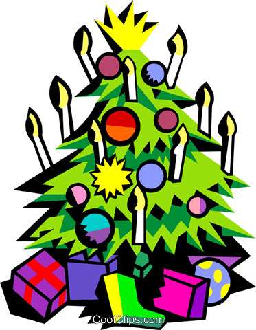 Christmas tree with candles Royalty Free Vector Clip Art illustration spec0376