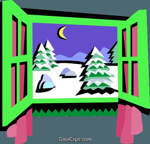 window frame winter scene royalty free vector clip art illustration rh search coolclips com free snow scene clipart Christmas Scene Clip Art