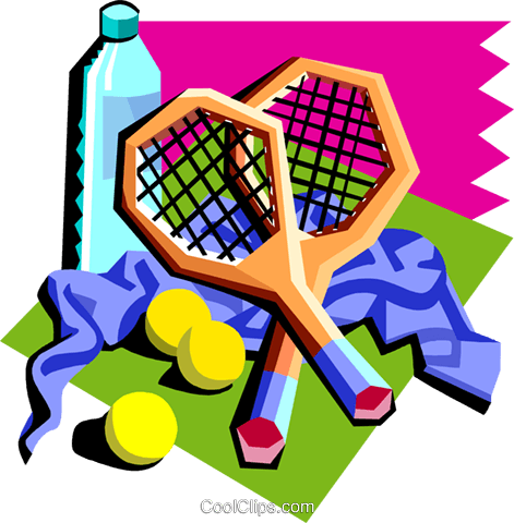 tennis rackets with water bottle, etc. Royalty Free Vector Clip Art illustration spor0403