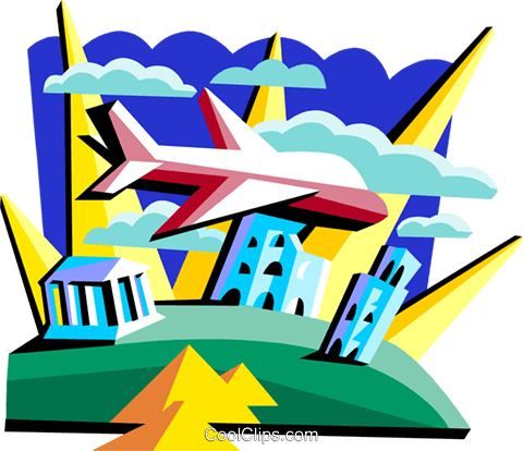plane over various landmarks Royalty Free Vector Clip Art illustration tran0973