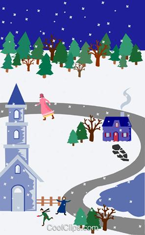 冬季场景 免版税矢量剪贴画插图