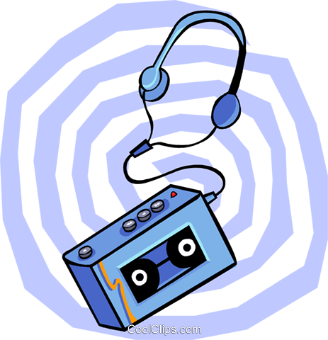 cassette player Royalty Free Vector Clip Art illustration hous1351