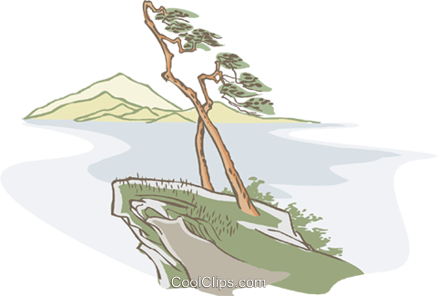 trees on cliff Royalty Free Vector Clip Art illustration natu0950