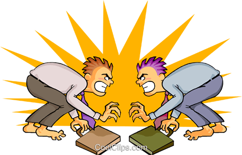 head to head competition Royalty Free Vector Clip Art illustration peop3581