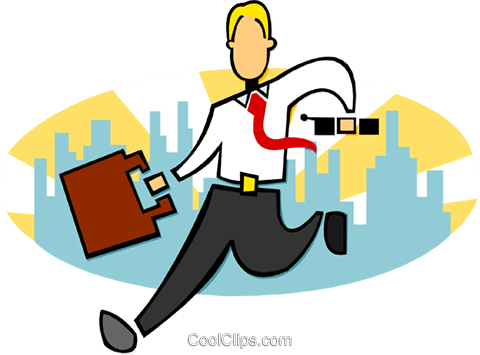 stylized businessman running Royalty Free Vector Clip Art illustration peop3590