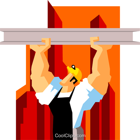 construction worker suspending beam Royalty Free Vector Clip Art illustration peop3593