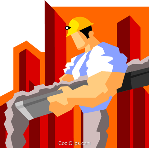 construction worker pouring cement Royalty Free Vector Clip Art illustration peop3594