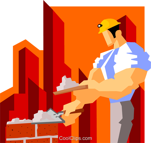 construction worker laying bricks Royalty Free Vector Clip Art illustration peop3595